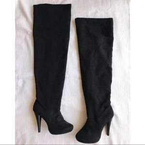 [Michael Antonio] Black Suede Over the Knee Boots